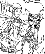 Fairy On Deer Coloring Page