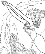 Mermaid Lessons Coloring Page