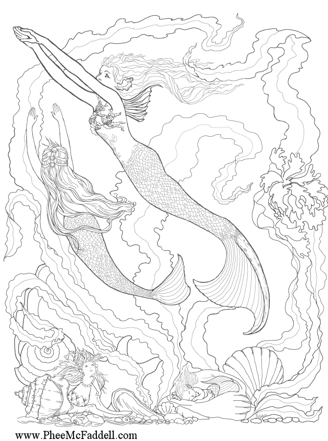 Real mermaids coloring pages realistic coloring pages for Realistic mermaid coloring pages