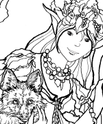 Nature Spirit and Fox Coloring Page