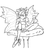 Girl on Toadstool Coloring Page