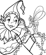 Clown and Tiny Fairy Coloring Page