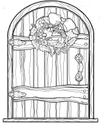 Christmas Fairy Door Coloring Page