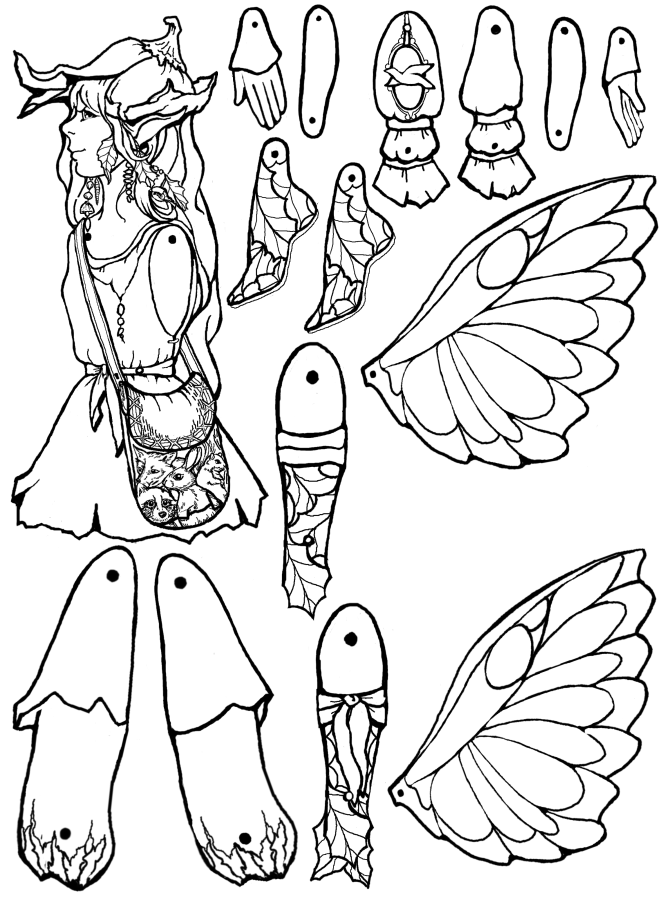 Forest fairy puppet for Fairy cut out template