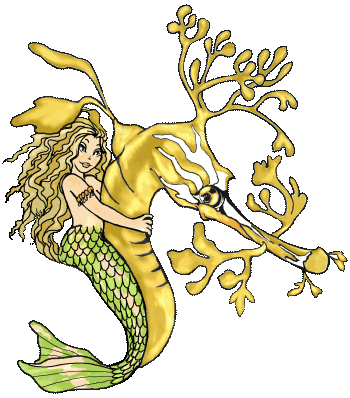 Little Mermaid and Sea Dragon Coloring Page